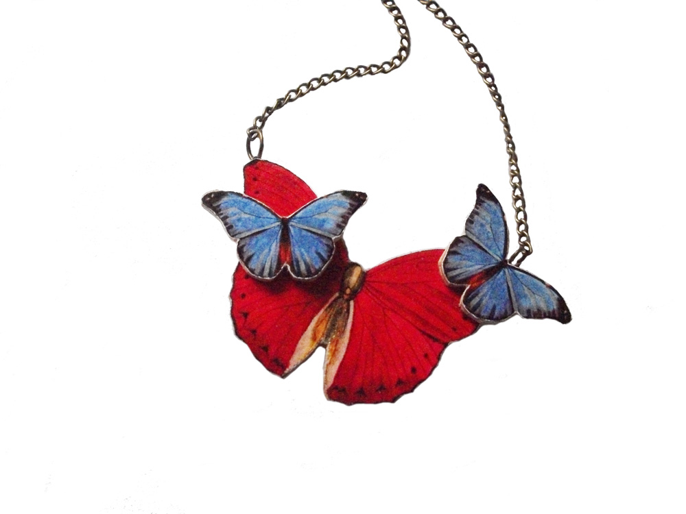Red Butterfly Necklace, Blue Butterfly, Wooden Necklace, Statement Butterfly