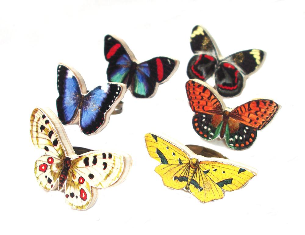 Wooden Butterfly Rings - Gossimarwings - Handmade - Summer Time in Orange and Yellow