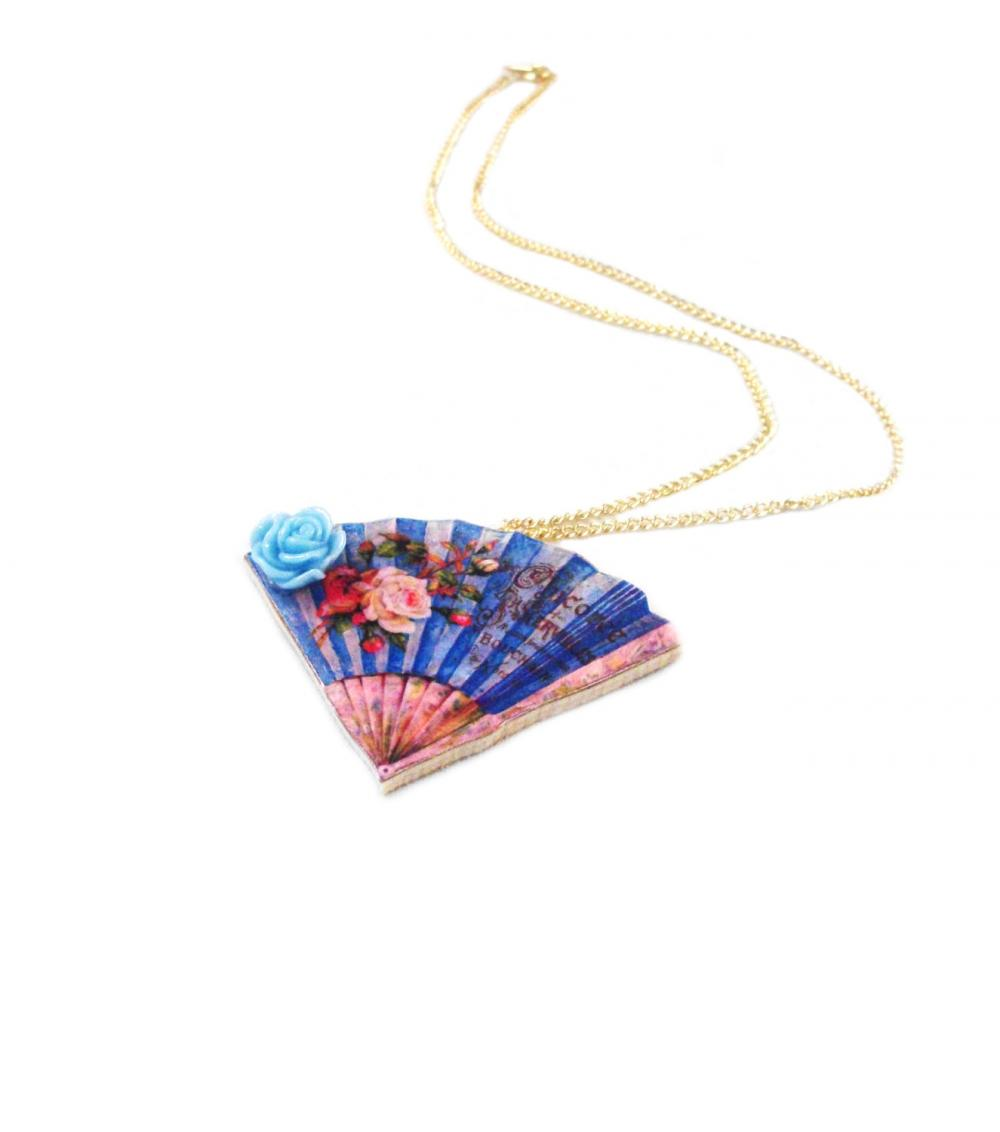 Wooden Fan Necklace - Feminine - Floral - Blue and Pink