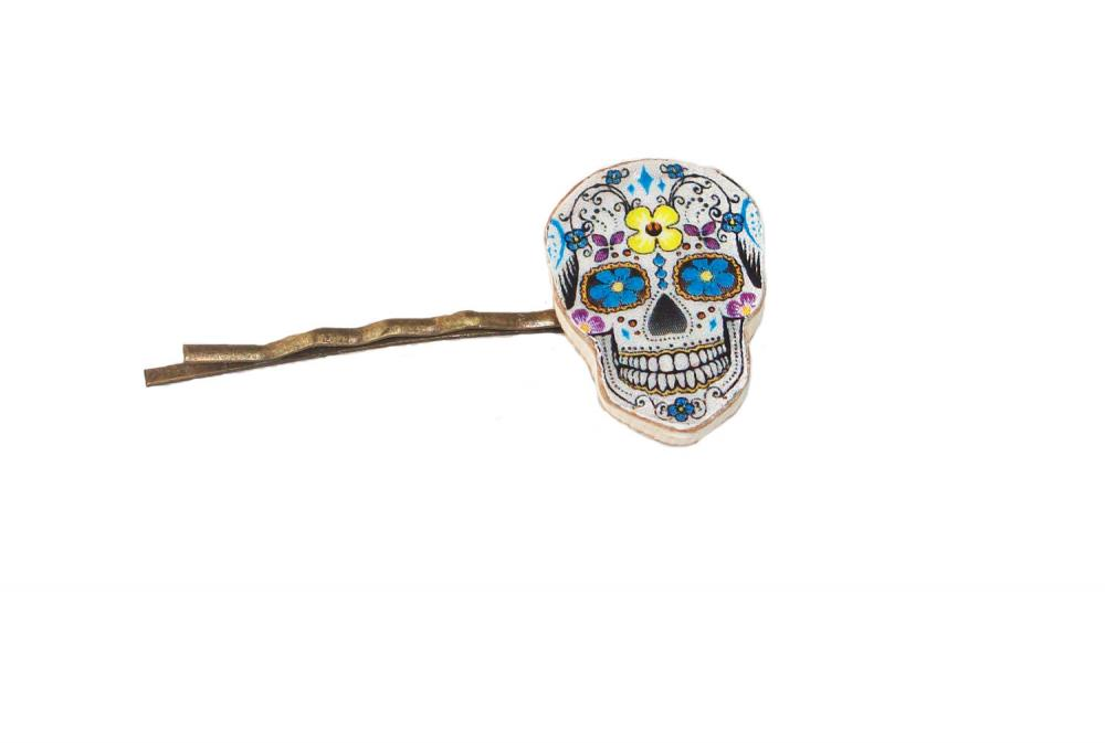 Day of the Dead, Day of the Dead Bobby Pin, Hair Slide, Skull, Wooden Skull